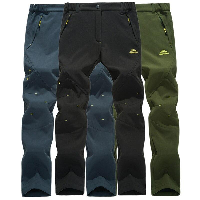 Hommes imperméable à l'eau en plein air Camping randonnée pantalon coupe-vent sport chaud doux Shell pêche polaire Trekking pantalon hiver hommes pantalon