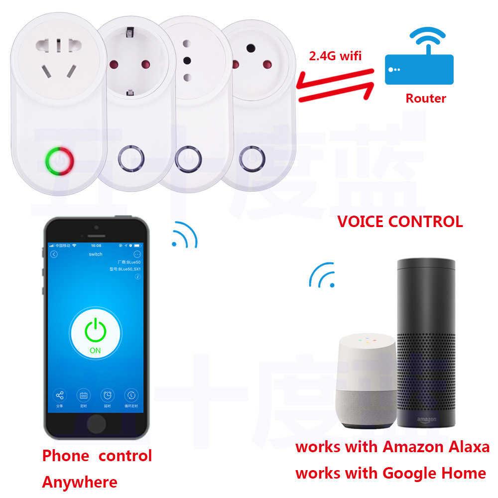 EWeLink inteligentne gniazdo WiFi inteligentna wtyczka ue FR w wielkiej brytanii, usa, AU izrael włochy Chile wylot 10A współpracuje z Alexa Google domu Mini IFTTT