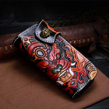 Vintage Genuine Leather Wallets Carving Lion Hasp Bag Purses Women Long Clutch Vegetable Tanned Leather Wallet Fathers Day Gift