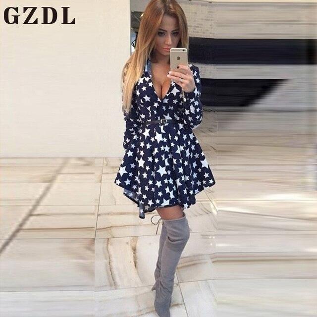GZDL Spring Autumn Women Long Sleeve V Neck Femininas Plaid Star Pleated Sexy Club Girl Mini Dresses Vestidos De Festa CL3509