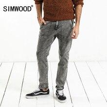 SIMWOOD 2020 bahar yeni moda kot erkekler marka kot pantolon Slim Fit artı boyutu kış giyim yüksek kaliteli NC017060