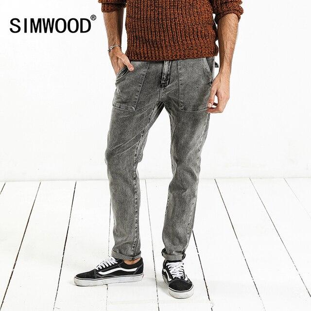 SIMWOOD 2020 primavera nueva moda Jeans hombres marca Denim Pantalones Slim Fit Plus Size ropa de invierno de alta calidad NC017060