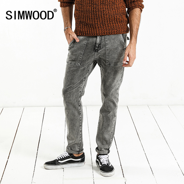 SIMWOOD di 2020 della molla di Nuovo Modo Dei Jeans Degli Uomini di Marca Pantaloni In Denim Slim Fit Plus Size Inverno Abbigliamento di Alta Qualità NC017060