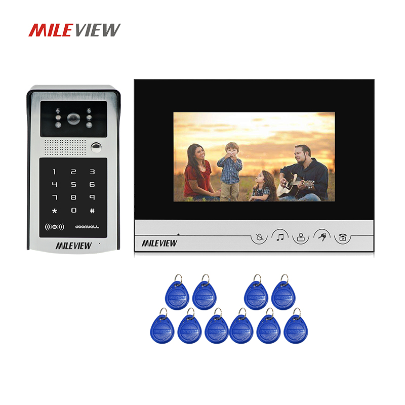 Free Shipping 7 inch LCD Monitor Screen Video Intercom Door Phone System + Metal Waterproof RFID Code Keypad Doorbell Camera free shipping 7 touch key white monitor video door phone intercom system waterproof rfid code keypad unlock doorbell camera