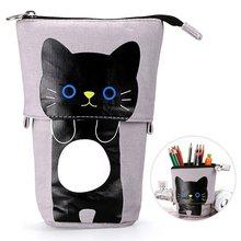 Холщовая Сумка для канцелярских принадлежностей с милым мультяшным котом и телескопической подставкой, чехол для карандашей, косметичка, сумка для хранения для мальчиков и девочек-30