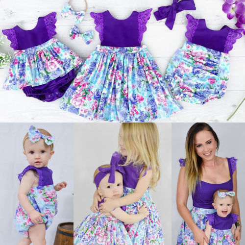 70592ac94951 Three Styles 2Pcs Sisters Floral Dress Newborn Kid Baby Girls Matching  Clothes Jumpsuit Romper Dress Outfits Set