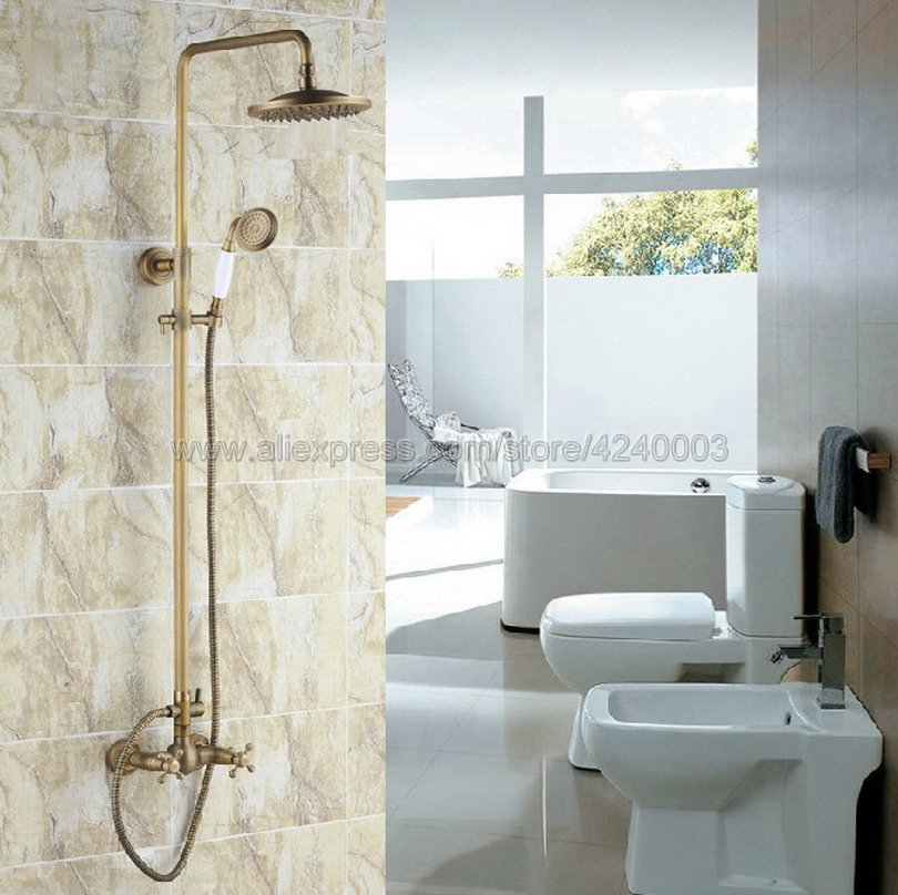 Antique Brass 8 inch Shower Head Bathroom Shower Faucet Sets Double Handles Mixer Tap with Hand