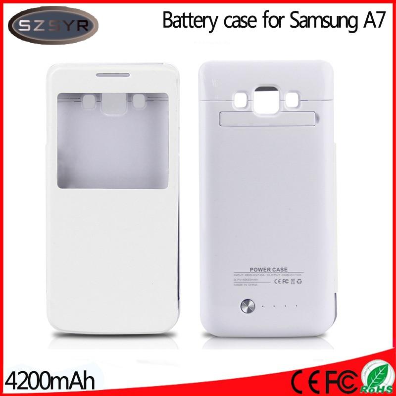 bilder für Auf Mit Fenster Flip Abdeckung 4200 mah PowerBank Externe Batterieladung Fall für Galaxy A7 Wiederaufladbare tragbare backup Freeshipping
