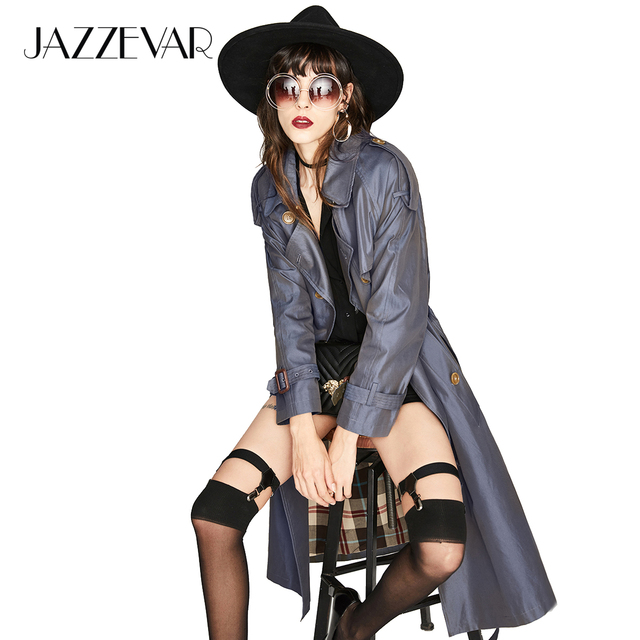JAZZEVAR New High Fashion Women's Waterproof Cotton Long Double-breasted The Westminster Heritage Trench Coat Top Quality