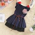 1-5 лет Дети дети платье для девочек Принцесса девочка платье В Горошек Пояс Летнее Платье девушки одежда deep blue Y3