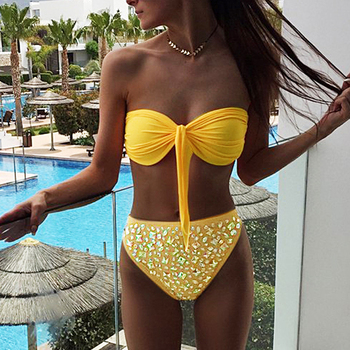 e59c3ce9fa632 Women Female Split Swimsuit Bikinis Padded Bather Suit Swimwear—ISHOWTIENDA