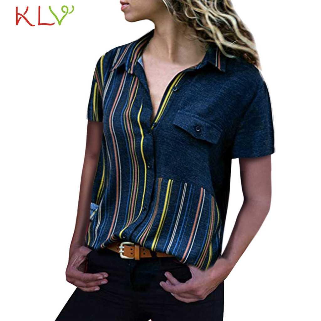 Damskie bluzki lato 2019 Fashion Office Lady koszulka z krótkim rękawkiem Harajuku Camiseta Basic Mujer Plus rozmiar Blusas Femininas 19Apr8