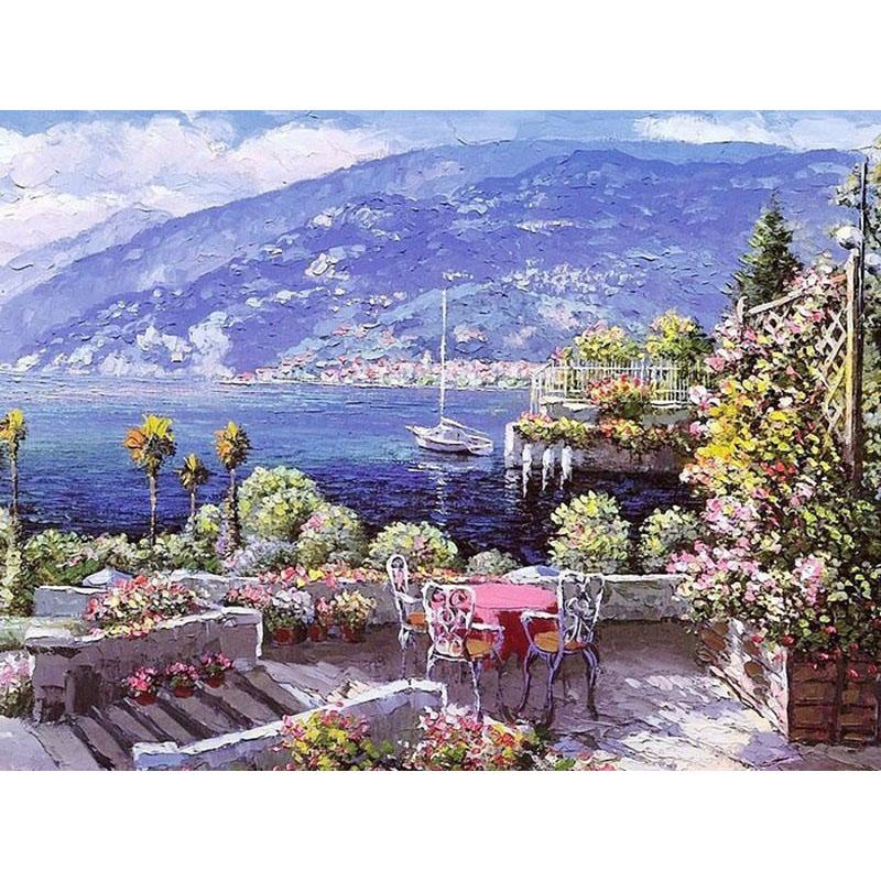 sin marco el mar mediterrneo paisaje pintura digital diy by nmeros regalo nico pared del arte