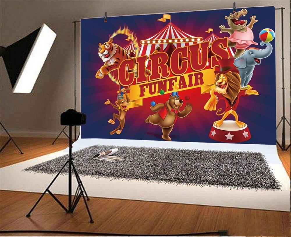 Laeacco Cartoon Animal Circus Cruise Babybarn Fotografiska Bakgrunder - Kamera och foto - Foto 2