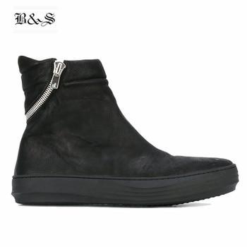 Black& Street 2019 Paladin Style Handmade Men's Genuine Leather Boots Sewing Line Zipper Darkness Cool Hip-Hop Street Men Boots