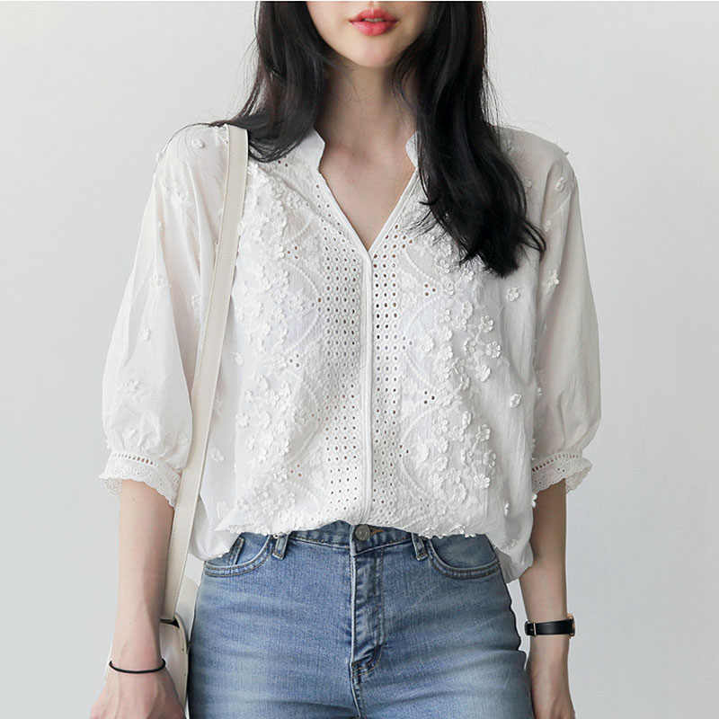 Embroidery blouse white shirt women blouses shirts blusas mujer de moda 2019 chemise femme loose tops plus size women clothing