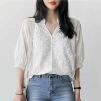 Embroidery Blouse White Shirt Women Blouses Shirts Blusas Mujer De Moda 2017 Chemise Femme Loose Tops