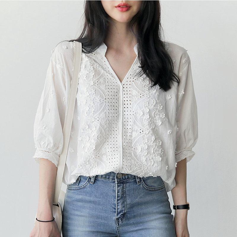 Embroidery blouse white shirt women blouses shirts blusas mujer de moda 2018 chemise femme loose tops plus size women clothing