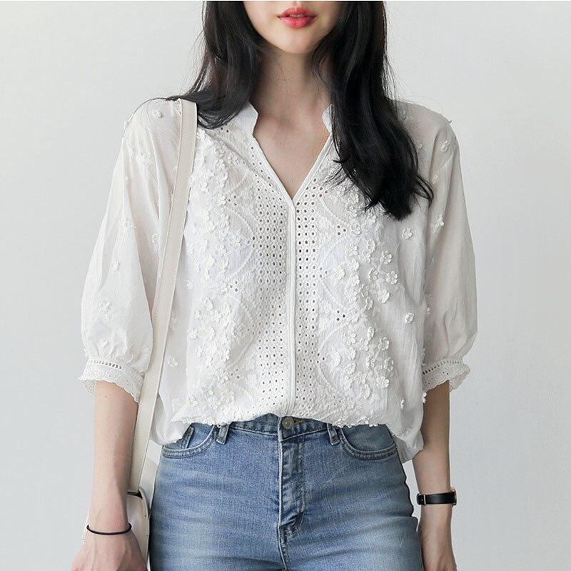 Embroidery blouse white shirt women