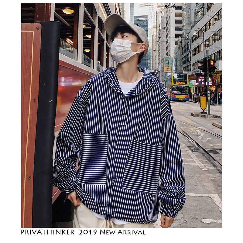 Privathinker Men Streetwear Striped Shirts 2019 Mens Harajuku Streetwear Casual Pullover Shirt Male Korean Hooded Clothing