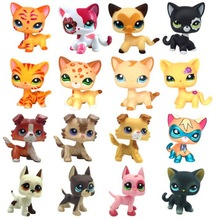 Rare LPS Pet Shop Green Eyed Tiger Shorthair Cat Collection Classic Animal Pet Cat Toy Action Character Child Toy Gift