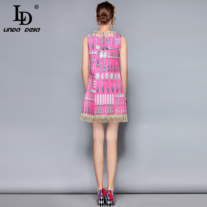 LD LINDA DELLA New Fashion Runway Summer Dress Women 39 s Sleeveless Lace Tassel knife and fork Printed Vintage Elegant Dress in Dresses from Women 39 s Clothing