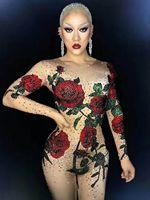 Яркий комбинезон со стразами и розами, женский сексуальный наряд, вечерние костюмы сценическая одежда, боди, танцевальный певец, комбинезон