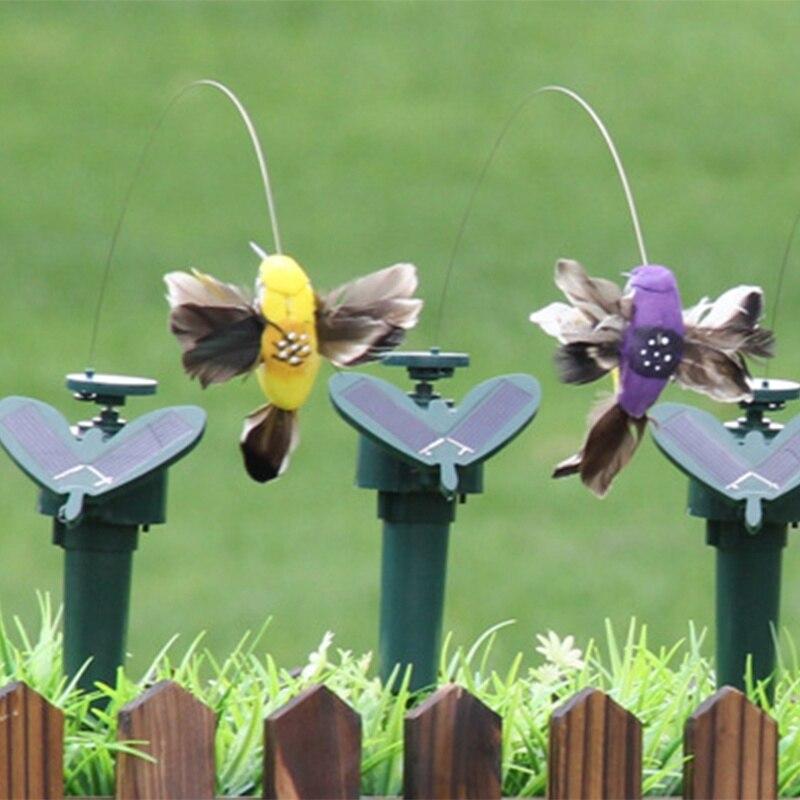 Funny Solar Toys Flying Fluttering Hummingbird Flying Powered Birds Random Color For Garden Decoration Hot M