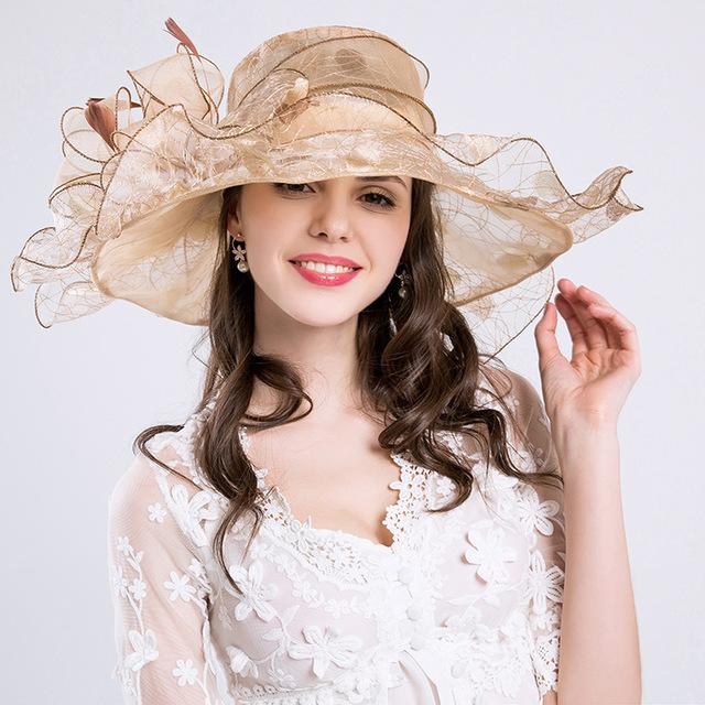 2017 fashion pearl Net yarn Women's summer Sun Hats for lady flowers new Hot beach hat female kentucky derby hats feminino sexy