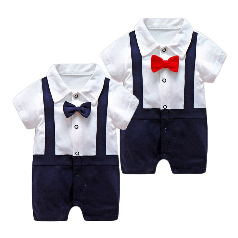 New Born Baby Boys Gentleman   Rompers   Summer Thin Short Sleeved Clothes Toddler Baby Bow Tie Jumpsuit Baby Body Climbing Pajamas