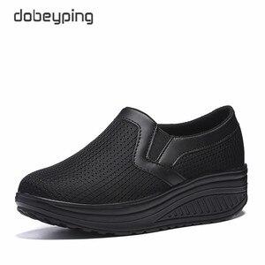 Image 4 - สตรี Swing รองเท้า Air Mesh ผู้หญิง Loafers แบนแพลทฟอร์มรองเท้าผู้หญิง Casual Wedges สุภาพสตรีรองเท้าความสูงเพิ่มรองเท้า