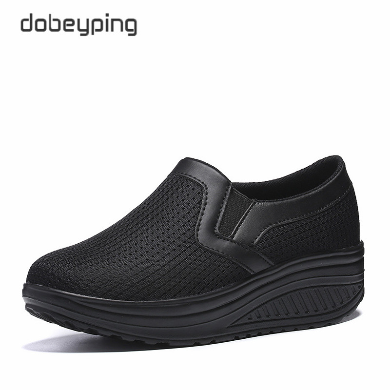 Image 4 - Women's Swing Shoes Air Mesh Woman Loafers Flat Platforms Female Shoe Casual Wedges Ladies Shoes Height Increasing Footwear-in Women's Flats from Shoes