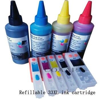 New Refillable Empty cartridge 33xl T3351 T3361 T3362 T3363 T3364 + 400ML Dye inks for xp530 xp540 xp630 xp640 xp635 xp645 фото