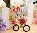 Bicicleta arco gato rhinestone llavero/coreano de moda de lujo de oro llaveros/encanto para el bolso/portachiavi/chaveiro strass/baratija coche