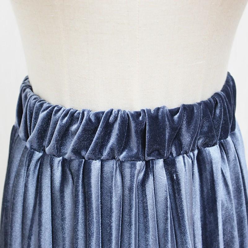 Women Long Metallic Silver Maxi Pleated Skirt Midi Skirt High Waist Elascity Casual Party Skirt 22