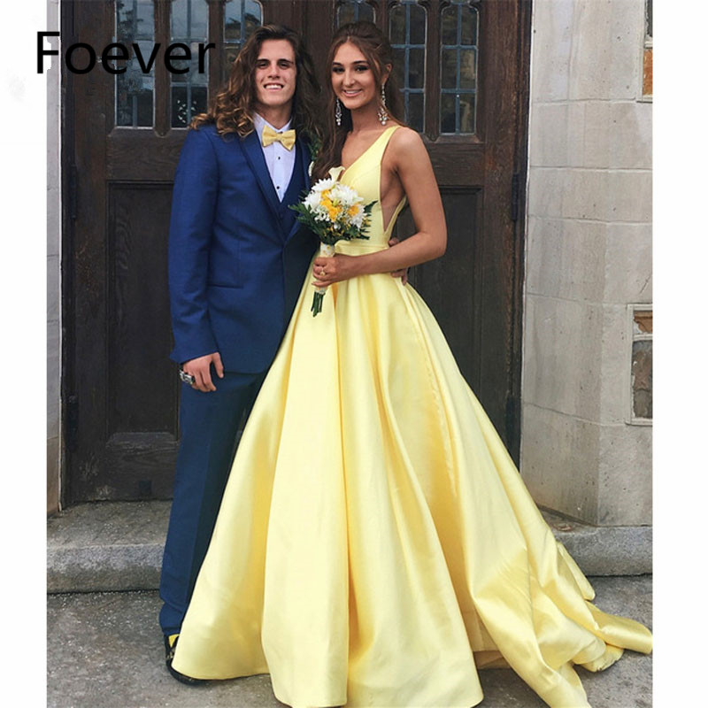 Sexy Yellow Satin Evening Dresses V Neck A Line Sweep Train Long Formal Occasion Dress 2019 Cheap Women Wedding Party Gowns