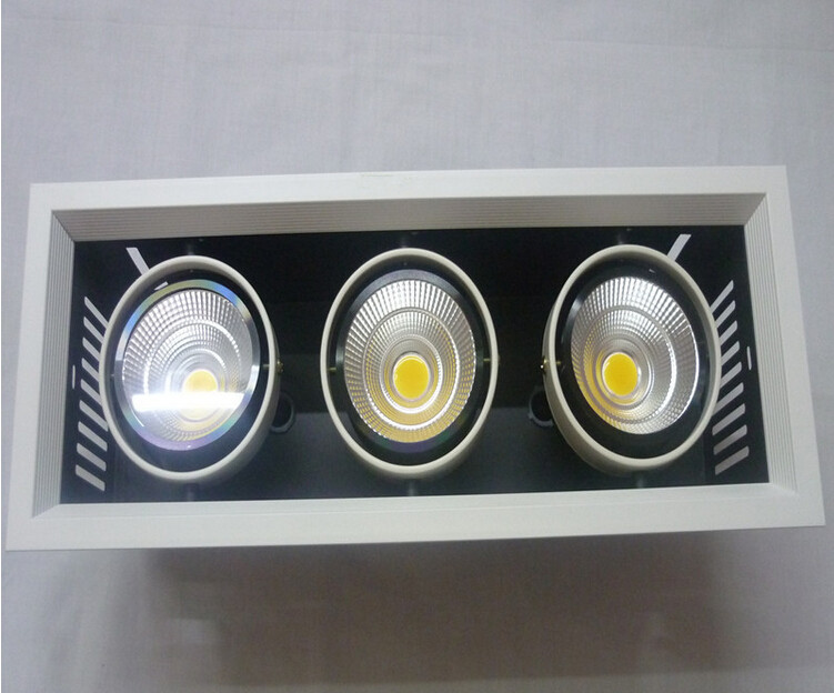 Free Shipping Super 3X10W Square COB LED ceiling Grille light Warm White/White/Cold White 30W LED Recessed Down lamp AC85-265V free shipping via dhl led panel light 600x600 48w high brightness led ceiling light white warm white light