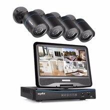 """Sannce 720 P системы видеонаблюдения 4CH dvr со встроенным 10.1 """"ЖК-дисплей монитор and 720 P HD 1.0MP 1280tvl пуля камер видеонаблюдения"""