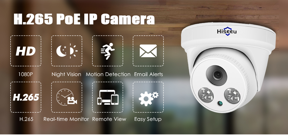HTB1YqcKKNTpK1RjSZFMq6zG VXaY Hiseeu 2MP POE IP Camera H.265 Dome Camera 1080P Night Vision P2P Motion Detection ONVIF For PoE NVR 3.6 Lens App View 30fps