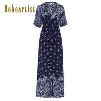 Bohoartist Apparel Long Dresses Floral Print V Neck Half Sleeve Color Block Cotton Women Summer Bohemia