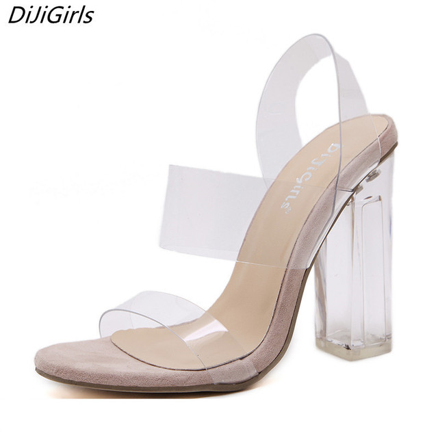 cc5d49d55d54 DiJiGirls Woman Sandals Clear Heels Transparent shoes female Crystal sandal  High Heels Open Toe Thick Heel Sandals wedding shoes