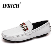 Ifrich Handmade Leather Shoes Rubber Bottom Mens Casual Footwear Luxury Brand Loafers Shoes For Mens Slip On Man Drive Shoes