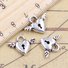 12pcs/lot Charms Fly Heart Lock 13x17mm Tibetan Pendants Antique Jewelry Making DIY Handmade Craft For Bracelet Necklace 12pcs lot charms retro camera 15x14mm tibetan pendants antique jewelry making diy handmade craft for bracelet necklace