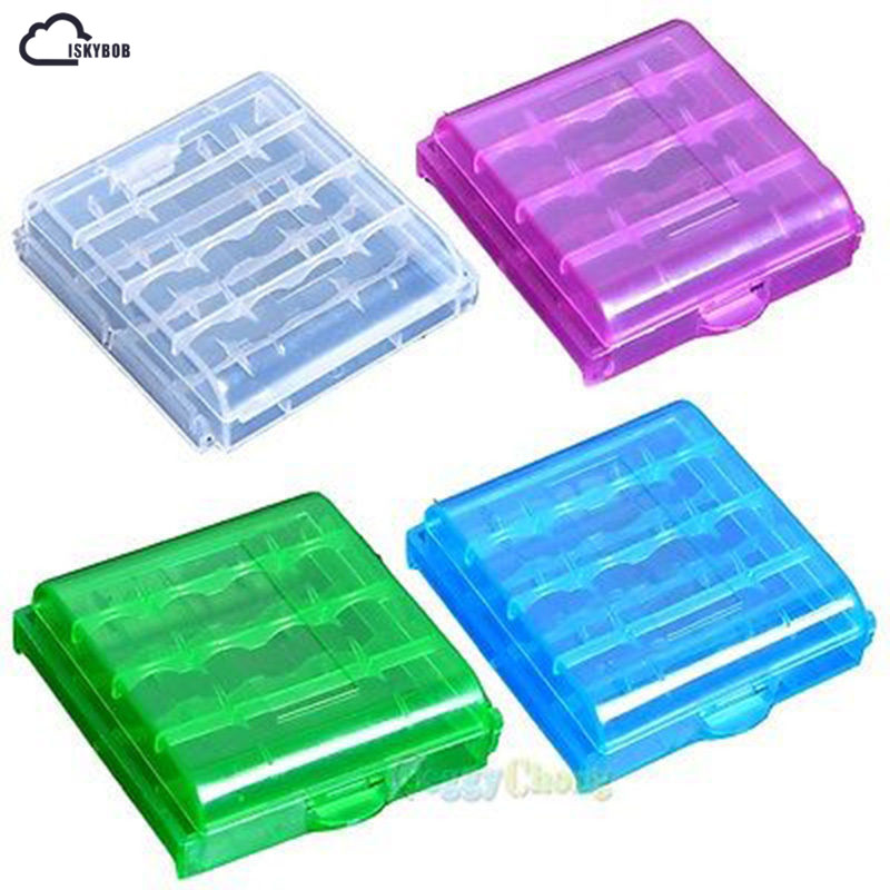цена на New 4PCS 4 Color Clear Hard Plastic Case Holder Storage Box Cover For AA AAA Battery Travel Packing Organizers