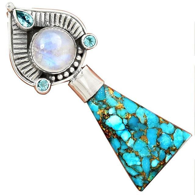 Lovegem Azul Turquesa Cobre + Moonstone Pendant 925 Sterling Silver, 50mm, AP2568