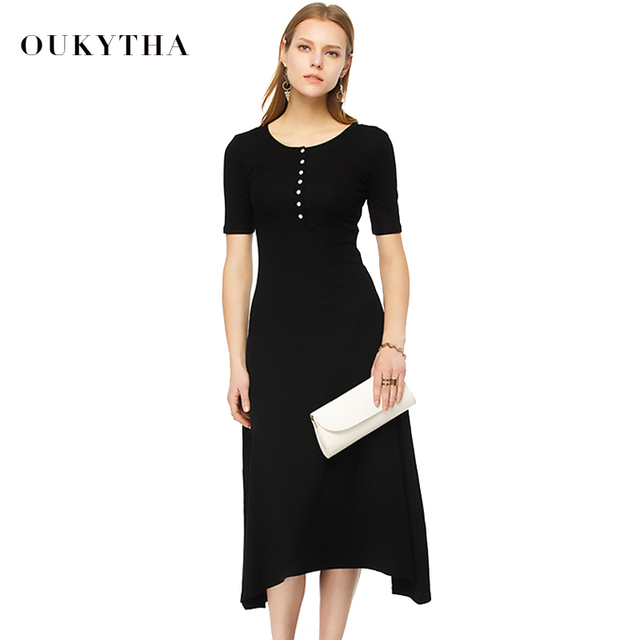 Oukytha Free Shipping 2017 Summer Dress Crew Neck Buttons Front short Sleeve Womens Stretch Maxi Ankle Length Long Dress S15296