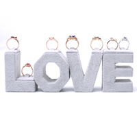 Lot of 4 Creative LOVE Words Ring Display Holder Gray Velvet Ring Display Stand Jewelry Display Holder
