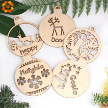 3PCS/Lot Creative DIY Hollow Christmas Ball Natural Wooden Pendants Ornaments For Xmas Tree Ornament Party Decorations