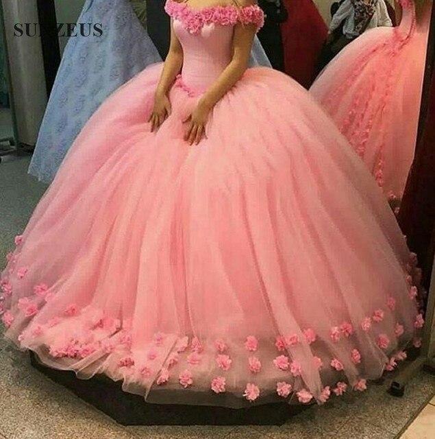 Ballkleid Lange Rosa Abendkleider Mit Handgemachten Blumen Big Puffy ...