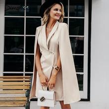 Simplee ヴィンテージマントブレザー女性ドレスオフィスレディース v ネックショールノースリーブドレス女性固体セレブパーティードレス vestidos